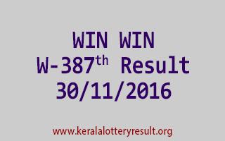 WIN WIN W 387 Lottery Results 30-11-2016