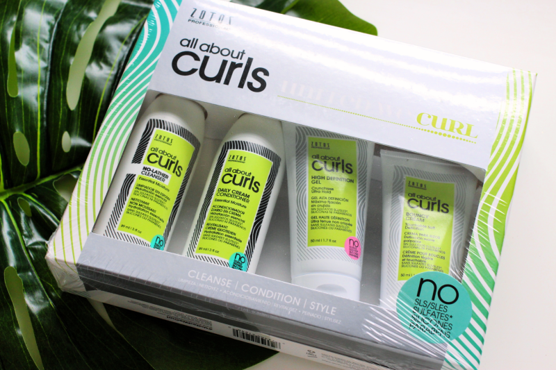 All About Curls samples in a box on a white table