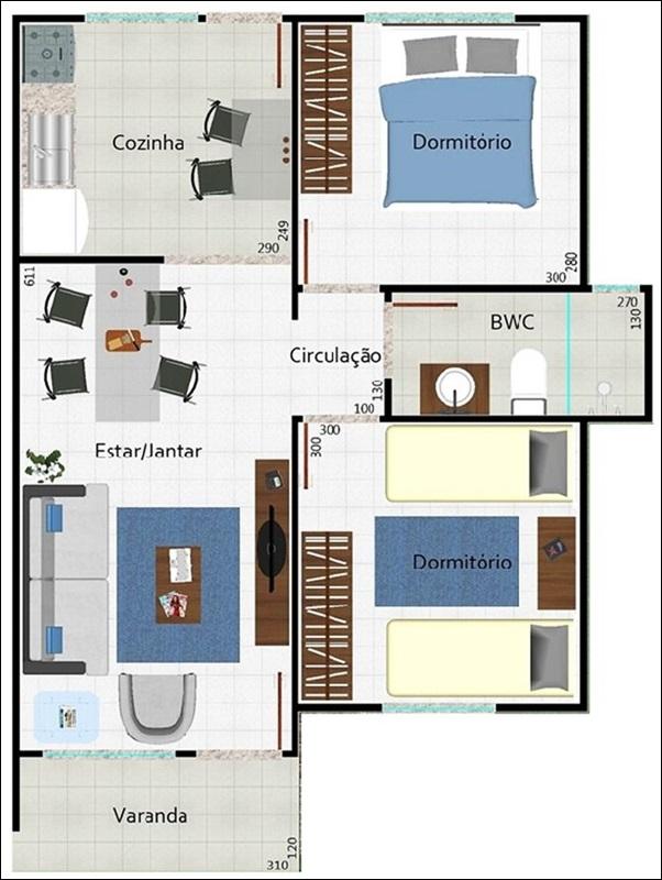 casa pequena 2 quartos