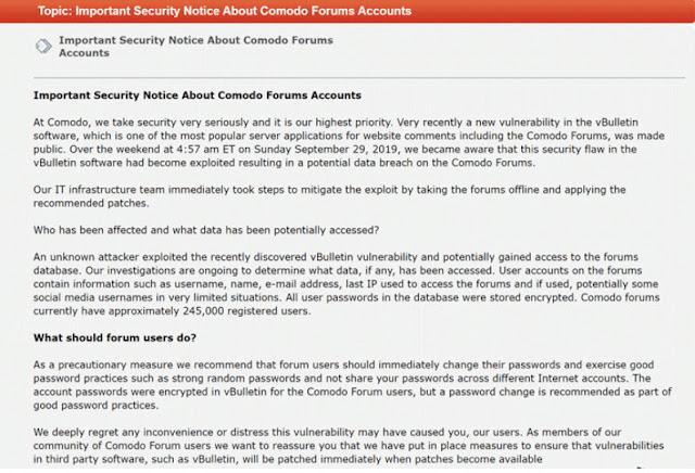 Tin tặc lợi dụng lỗ hổng 0-day của nền tảng vBulletin forum để xâm nhập vào Comodo Forums, đánh cắp thông tin của hơn 245.000 người dùng - CyberSec365.org