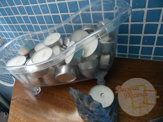 Truco para decorar el baño con velas baratas.