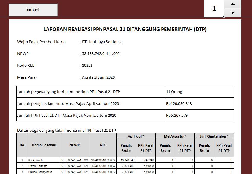 Cara Membuat Pelaporan Pph Pasal 21 Ditanggung Pemerintah Dtp Sesuai Permenkeu No 23 Pmk 03 2020 Menggunakan Aplikasi Excel Gaji Dan Pph 21 V 1 20 Kuat S Blog