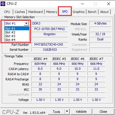 Cek Slot RAM Laptop dengan CPU Z