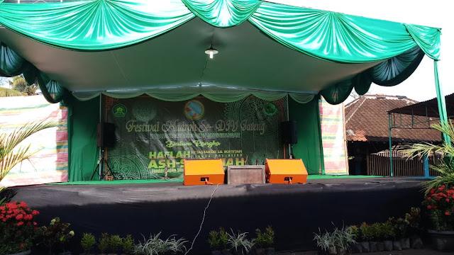 Contoh Panggung Acara Pengajian Akbar Haflah Akhirussanah Lomba di Ponpes / Madrasah