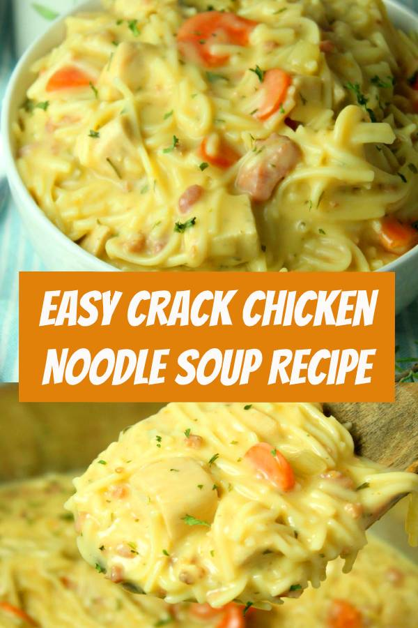 This easy homemade chicken noodle soup recipe is super creamy and delicious! The entire family loves it. Add a little cheese and bacon in there to take it up a notch. It will be a new favorite week night dinner recipe. #chicken #souprecipes #chickennoodle #dinnerideas
