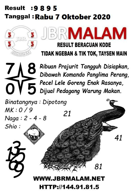 JBR Malam HK Rabu 07 Oktober 2020