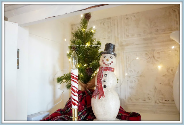 French -Farmhouse- Cottage -White- Dining -Room- Cabinet-Christmas- Vignettes-Vintage-Style-Snowman-From My Front Porch To Yours
