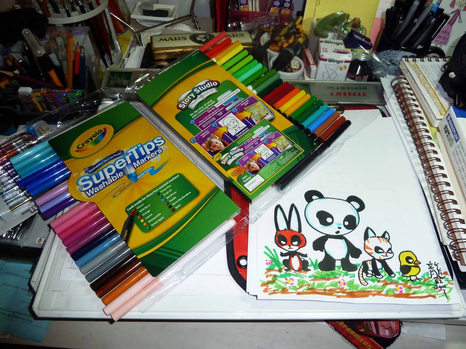 Kid Sketches Drawing Cartoon Panda Characters And Sketching Page