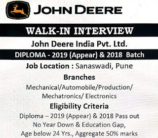 John Deere India Pvt Ltd Recruitment For Diploma And ITI Freshers Candidates   Apply Online