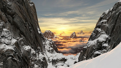 Sunset in the mountains with snow