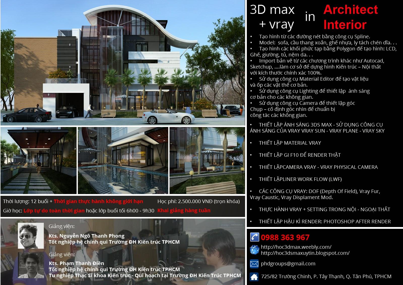 Khóa học 3d max, autocad, sketchup, revit tại tphcm