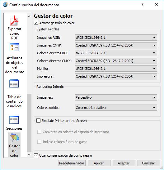 configuración documento para impresión en Scribus