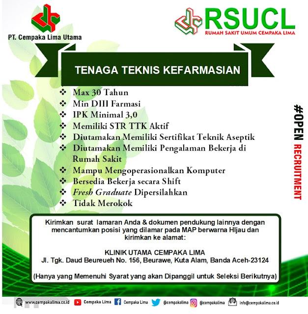 Lowongan Kerja Sebagai Tenaga Teknis Kefarmasian RSU Cempaka Lima Aceh Tahun 2020