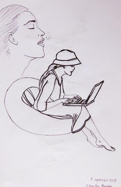 Sketsa wanita dan laptop di sofa