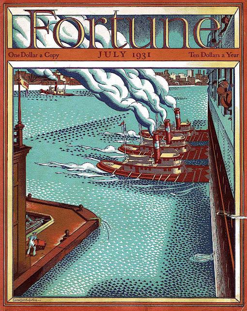 an Ernest Hamlin Baker illustration for July 1931 Fortune magazine, tugboats move a big ship