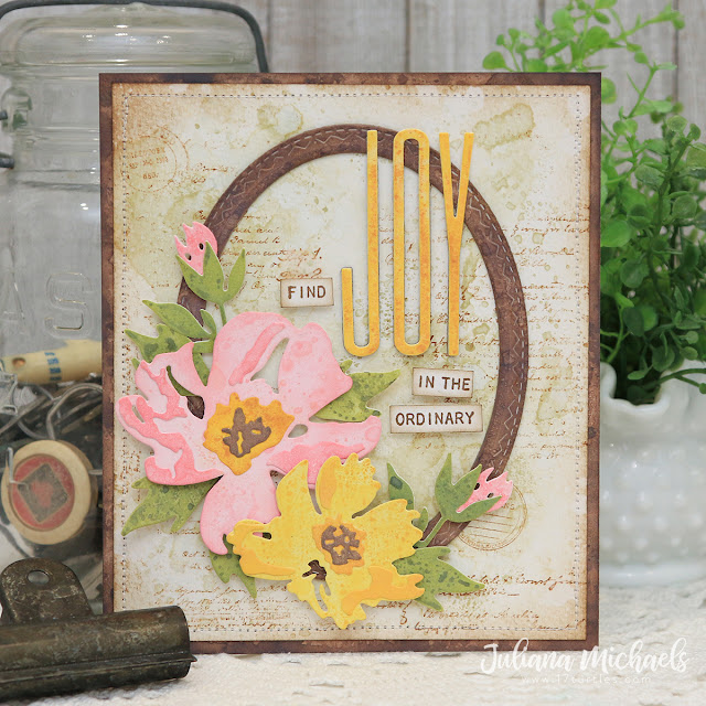 Find Joy In The Ordinary Card by Juliana Michaels featuring Tim Holtz Brushstroke Flowers 1 and Alphanumeric Stretch Thinlits