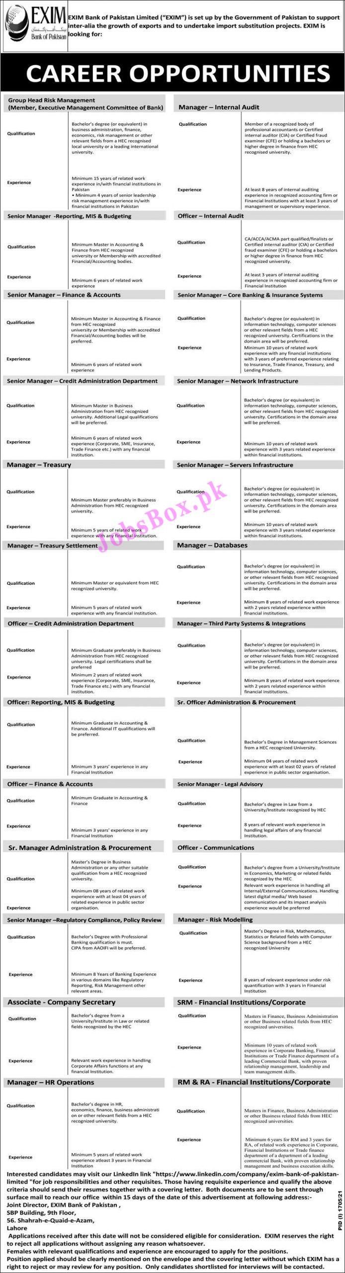 https://www.linkedin.com/company/exim-bank-of-pakistan-limited - EXIM Bank of Pakistan Jobs 2021 in Pakistan
