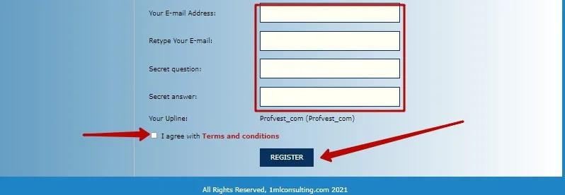 Регистрация в 1MLconsulting 3