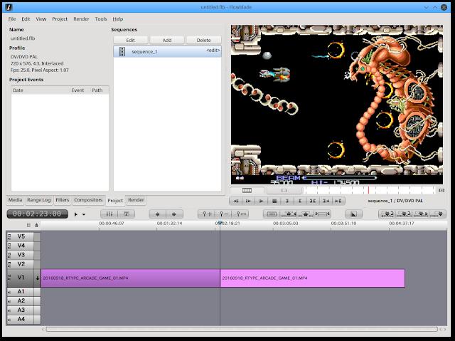 切り取りたい映像を指定。キャプチャーしたゲーム動画をLinux Netrunner 17で編集