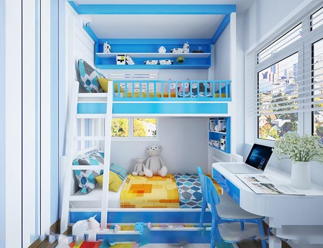 tông màu xanh dương thiết kế phòng ngủ