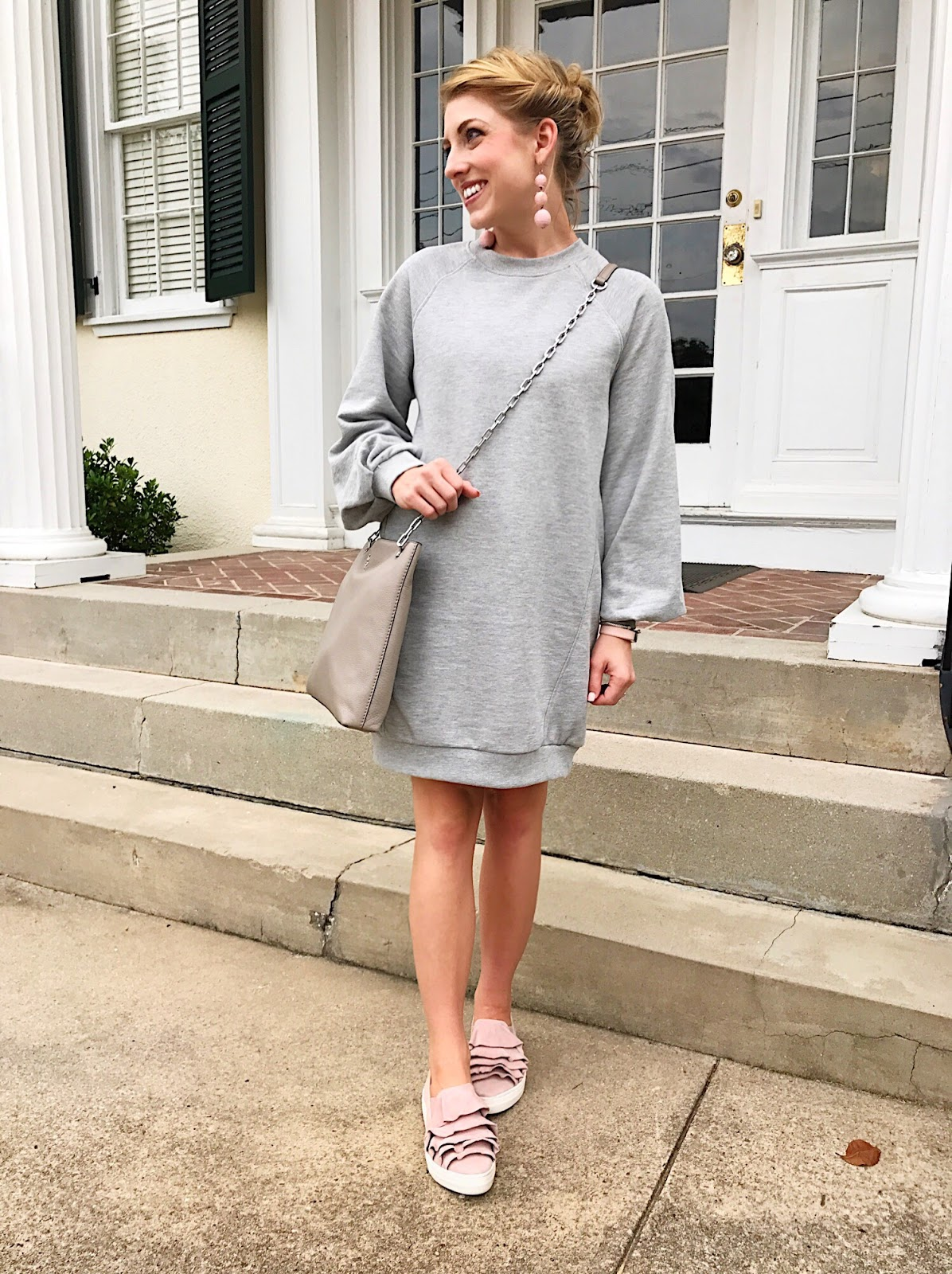 How to style a sweatshirt dress - Click through to see more on Something Delightful Blog.