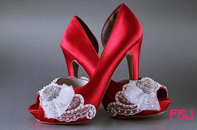 Sapato vermelho puro estilo