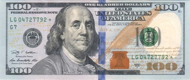 Hình chụp mặt trước tờ tiền 100 đô