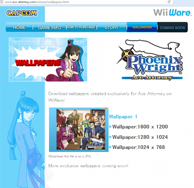 Phoenix Wright Ace Attorney WiiWare website desktop wallpapers art Capcom