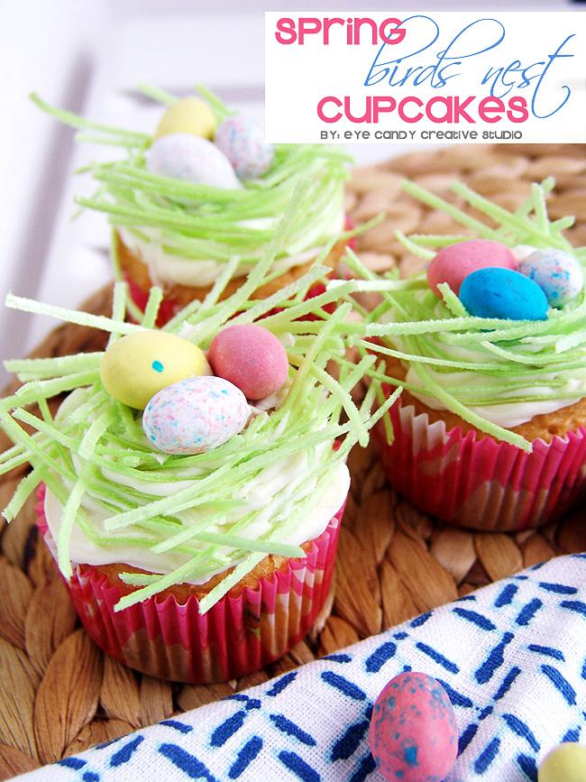 spring cupcakes, easter cupcakes, edible grass, cupcake ideas