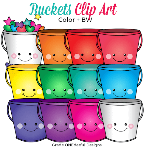 Rainbow buckets, hearts and stars clip art.