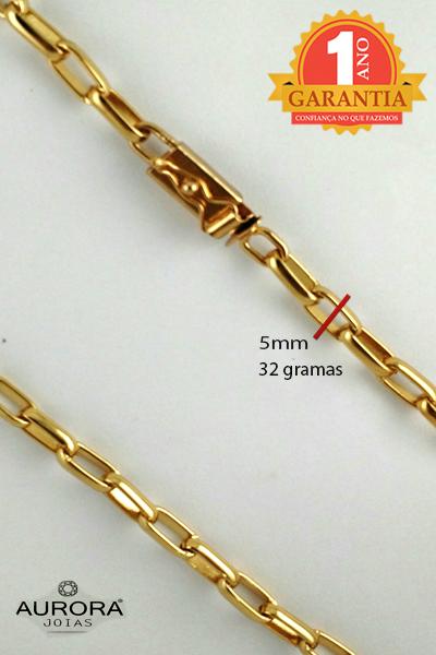 7983a72bdb2 AURORA JÓIAS  Cordão Corrente Cartier 60cm Banhada Ouro 18k Fecho Gaveta