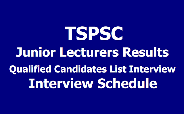 TSPSC JL Junior Lecturers Results 2019, Qualified Candidates List for Interview and Interview Schedule