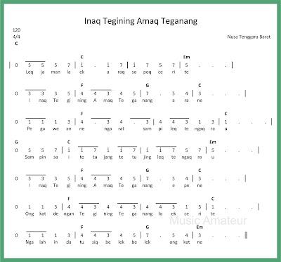 notasi angka inaq tegining amaq teganang lagu daerah nusa tenggara barat