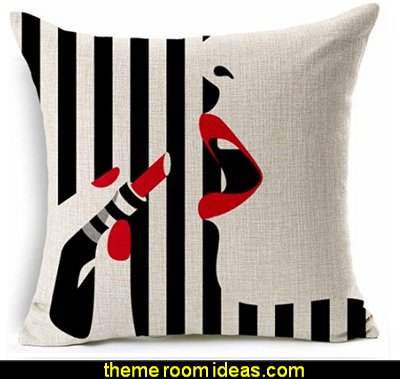 Black and Beige Fashion  Lady lipstick  throw pillow