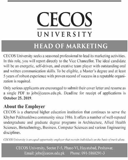 Jobs in CECOS University as Head of Merketing