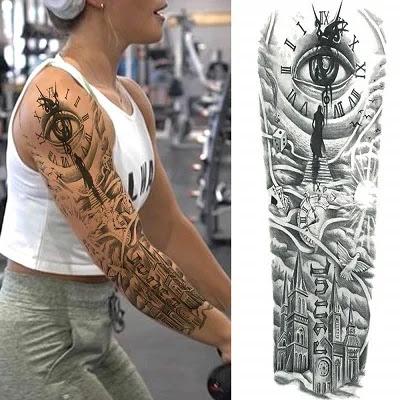 ALISA Black Tribal Maori Bald Eagle Full Arm Temporary Tattoo Sleeve For Men Teens Large Dragon Full Sleeve Temporary Tattoos Boys Kids Compass Pirate Tiger Cool Spartan Warrior Tatoo Custom
