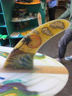 Hand painted surfboard fins by Paul Carter