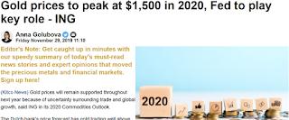 2020년 국제 금 시세 전망 : 1450 ~ 1500 달러, 2020년 평균 1475달러 예상