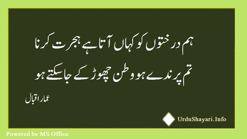 Hum Darkhton Sharo Shari In Urdu - 2 line poetry in urdu font