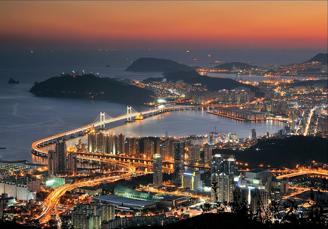 Busan city skyline and bridge at night, South Korea
