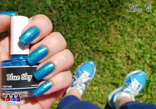 Esmaltes da Kelly, Kelly Negri, EDK, EDK blue sky, glitter azul