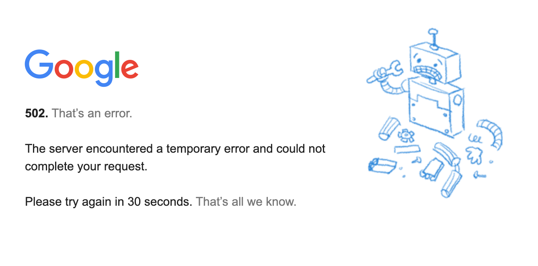 Tampilan Google Offline atau Down