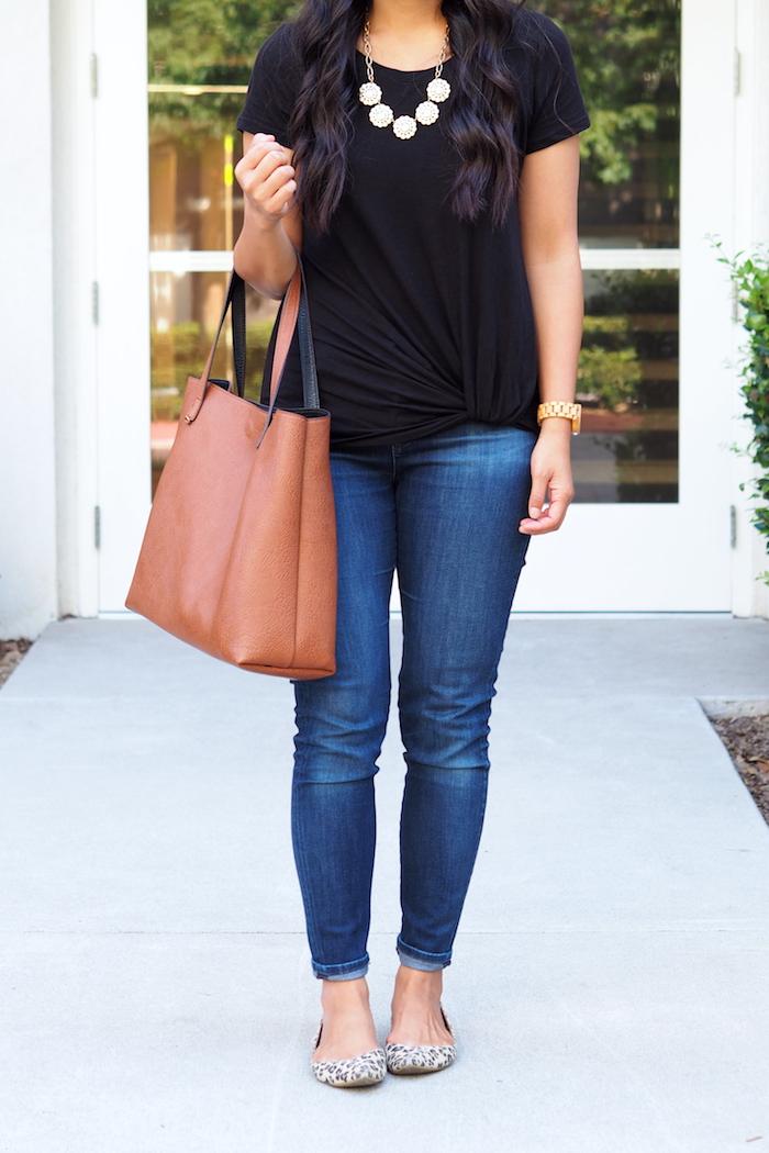 black twist tee + jeans + leopard flats + statement necklace