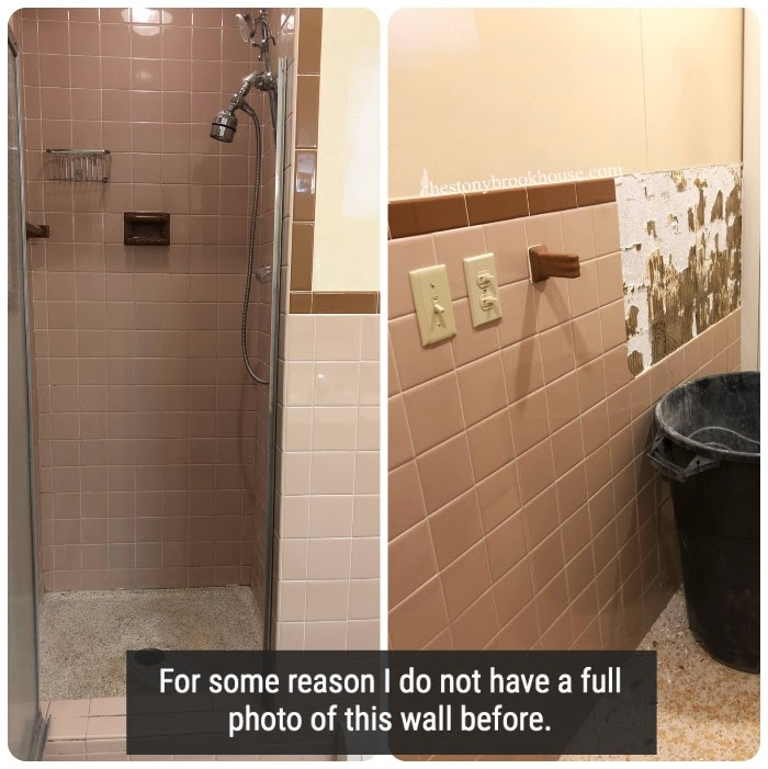 Shower and bathroom wall