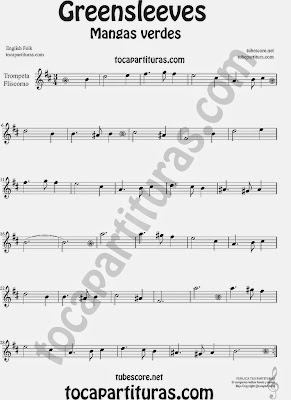 Greensleeves Partitura deTrompeta y Fliscorno Mangas Verdes o ¿Qué niño es este? Sheet Music for Trumpet and Flugelhorn Music Scores Carol Song What child is this?