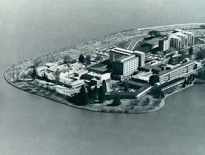 Canberra Hospital on Acton Peninsula, aerial view looking west from Hospital Point