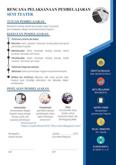 RPP 1 Lembar Seni Teater SMP Kelas VII Semester 1 Tahun Ajaran 2020-2021