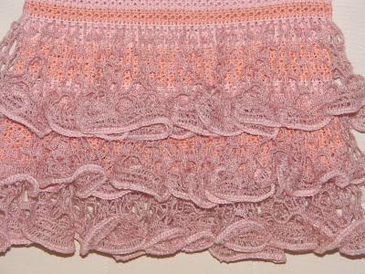 Схема вязания волана для пышной юбочки.  Вязаный узор крючком для юбки.