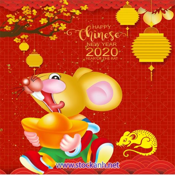 Vector con chuột vàng 2020_stock ảnh.net