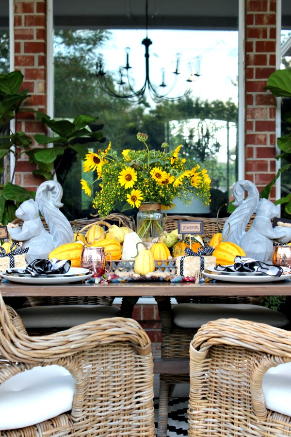 outdoor dining, ikea byholma chair, fall decorations, fall table setting